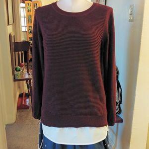 Hilary Radley Sweater Purple Ribbed Sweater Shirt